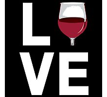 Awesome 'Love' Wine Glass Icon Accessories (White on Black) Photographic Print