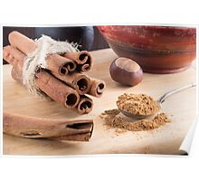 Cinnamon sticks and powder Poster