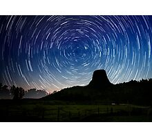 Star trails over Devils Tower Photographic Print