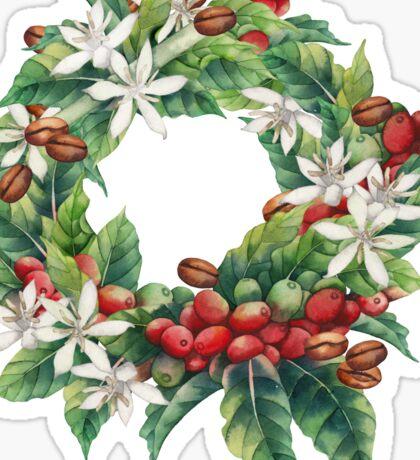 Watercolor coffee wreath  Sticker