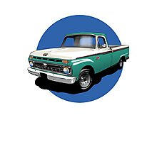 1966 Ford F100 Custom Cab - Teal & White Photographic Print
