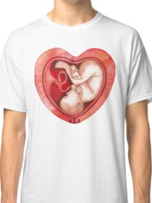 Watercolor fetus inside the heart shaped womb Classic T-Shirt