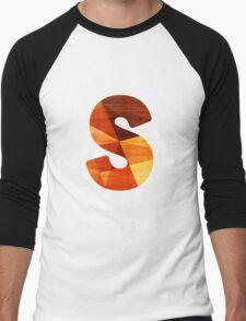 Letter S - Wooden Initial  Men's Baseball ¾ T-Shirt