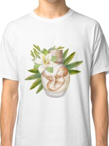 Watercolor fetus in the glass bottle with floral decorations Classic T-Shirt