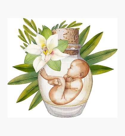 Watercolor fetus in the glass bottle with floral decorations Photographic Print