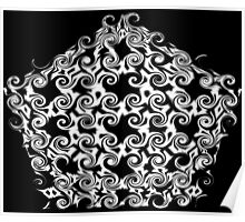 Curlicues Pentagon Black and White Pattern Poster