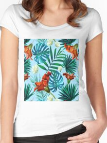 Sky blue tropical floral Women's Fitted Scoop T-Shirt