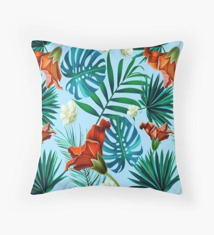 Sky blue tropical floral Throw Pillow