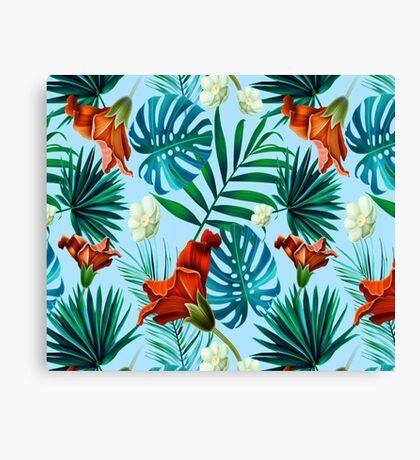 Sky blue tropical floral Canvas Print