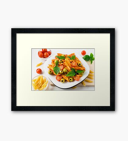 White plate of penne pasta decorated with cherry tomatoes Framed Print
