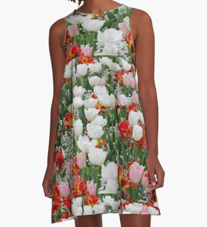 Beautiful Tulips Red White and Pink A-Line Dress