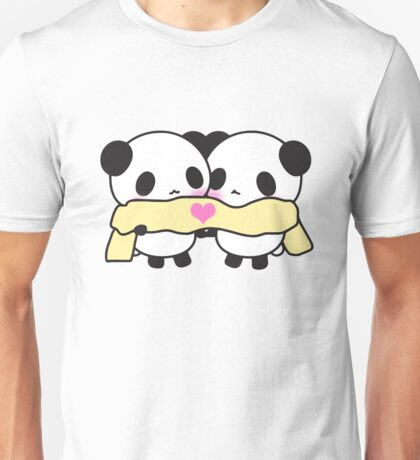 Cute Kawaii Pandas Scarf Heart Love Print  Unisex T-Shirt
