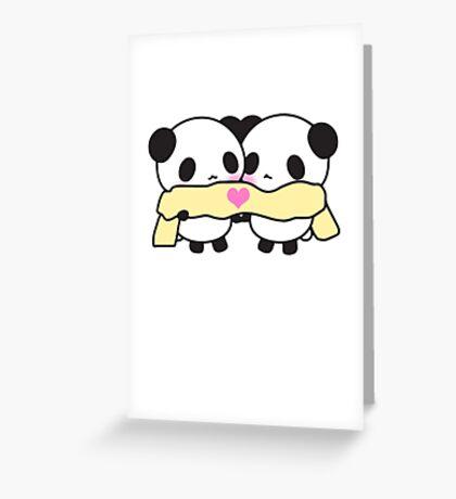 Cute Kawaii Pandas Scarf Heart Love Print  Greeting Card