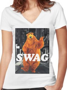 Bear in the hoodSwag Women's Fitted V-Neck T-Shirt