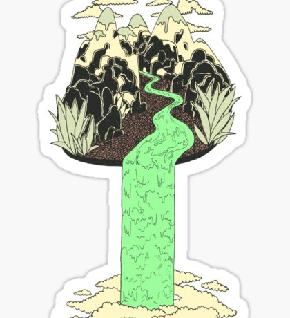 Levitating Island with a Source coming from nowhere Sticker