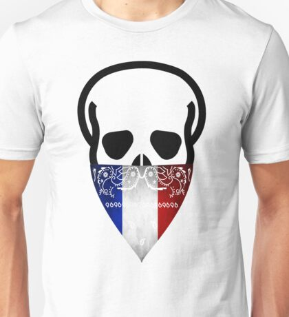 France Skull Gangster black Unisex T-Shirt