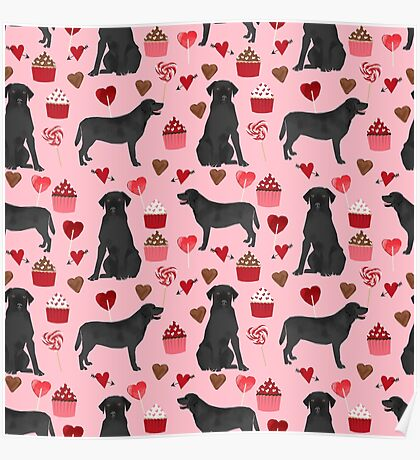 Black Lab valentines day pattern gifts dog pattern with hearts and cupcakes perfect for valentine by PetFriendly Poster
