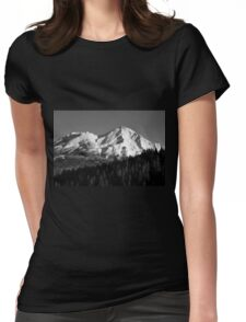 Mount Shasta photograph in Black and White Womens Fitted T-Shirt