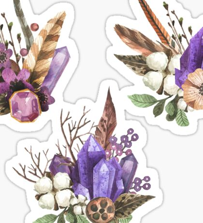 Boho Feathers Gemstones, Watercolor Crystals Stones - Stickers Set Pattern Sticker