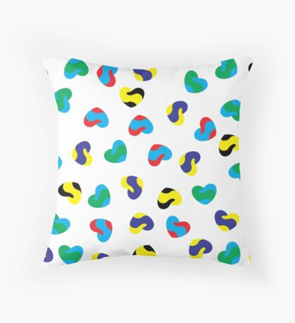 Hearts in different colors pattern Throw Pillow
