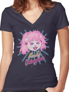 Mewly Outrageous Women's Fitted V-Neck T-Shirt