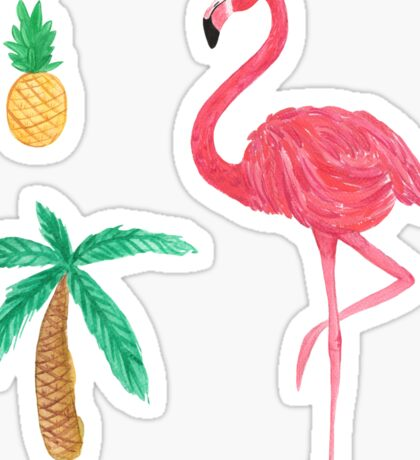 Tropical Trio Flamingo Pineapple Palm Tree Sticker