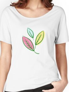 Pink Blue Yellow Leaves Women's Relaxed Fit T-Shirt