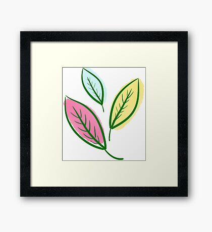 Pink Blue Yellow Leaves Framed Print