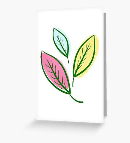 Pink Blue Yellow Leaves Greeting Card