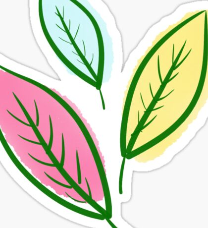 Pink Blue Yellow Leaves Sticker