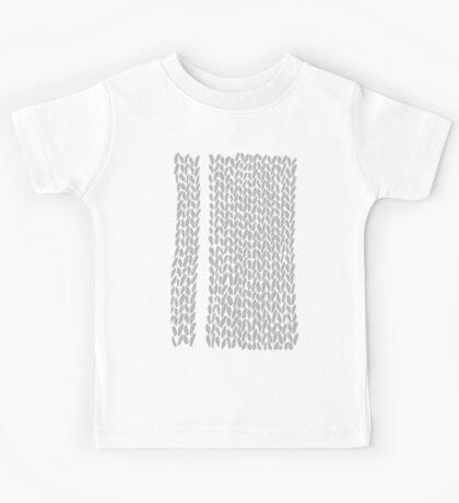Grey Knit With White Stripe Kids Tee