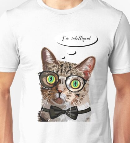 Hand drawn portrait of Cat with glasses and bow tie Unisex T-Shirt