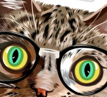 Hand drawn portrait of Cat with glasses and bow tie Sticker
