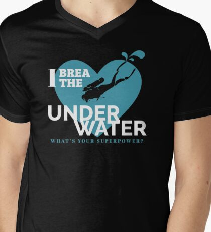 Underwater scuba diving. Deep blue sea t-shirt, quote Mens V-Neck T-Shirt