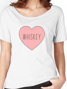 I Love Whiskey Heart White Women's Relaxed Fit T-Shirt