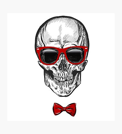 hand drawn anatomy skull with different tones and sunglasses.  Photographic Print