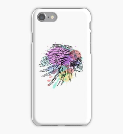 Hand Drawn Native American Indian Feather Headdress With Human Skull iPhone Case/Skin