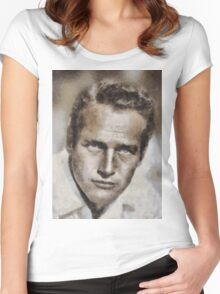 Paul Newman Hollywood Actor Women's Fitted Scoop T-Shirt