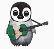 Baby Penguin Playing Nigerian Flag Guitar Kids Tee