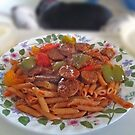 Sausage and Peppers Over Penne by TJ Baccari Photography