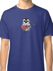 Baby Penguin Playing Norwegian Flag Guitar Classic T-Shirt
