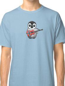 Baby Penguin Playing Norwegian Flag Guitar Classic T-Shirt