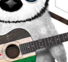 Baby Penguin Playing Palestinian Flag Guitar Sticker