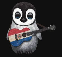Baby Penguin Playing Paraguay Flag Guitar Kids Tee