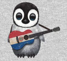 Baby Penguin Playing Paraguay Flag Guitar One Piece - Long Sleeve