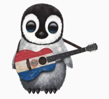 Baby Penguin Playing Paraguay Flag Guitar Baby Tee