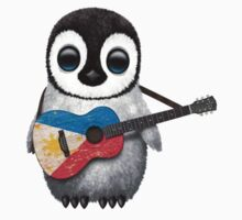 Baby Penguin Playing Filipino Flag Guitar One Piece - Short Sleeve
