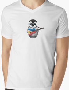 Baby Penguin Playing Filipino Flag Guitar Mens V-Neck T-Shirt