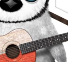 Baby Penguin Playing Polish Flag Guitar Sticker