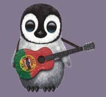 Baby Penguin Playing Portuguese Flag Guitar Kids Clothes